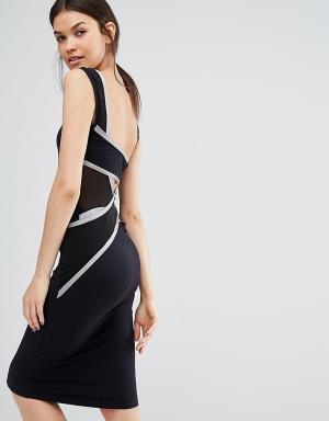 Quontum Tall Облегающее платье миди с отделкой сзади. Цвет: черный