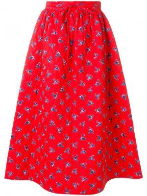Пышная юбка с цветочным принтом Kenzo. Цвет: красный