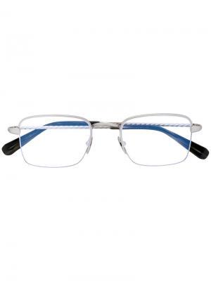 Очки  с квадратной оправой Brioni. Цвет: металлический