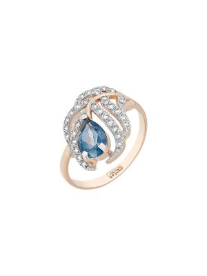 Кольцо с топазом и фианитом Магия Золота. Цвет: золотистый