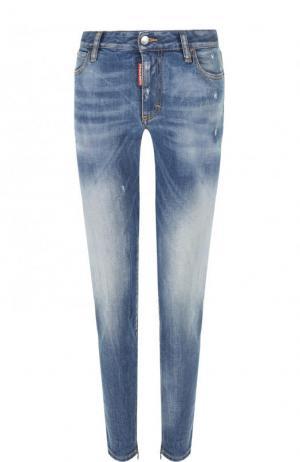 Укороченные джинсы-скинни с потертостями Dsquared2. Цвет: голубой