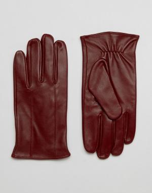 Barney's Originals Темно-бордовые кожаные перчатки Barneys. Цвет: красный