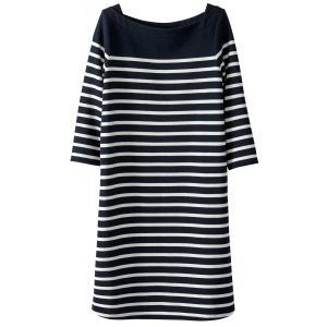 Платье прямое средней длины с рисунком в полоску La Redoute Collections. Цвет: в полоску темно-синий/белый