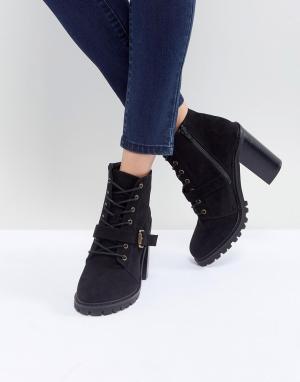 Faith Походные ботинки средней высоты со шнуровкой. Цвет: черный