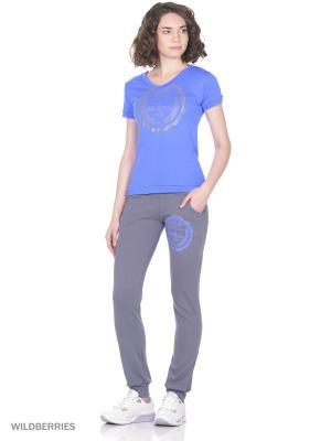 Костюм женский спортивный (футболка, брюки) MARSOFINA. Цвет: голубой, серый