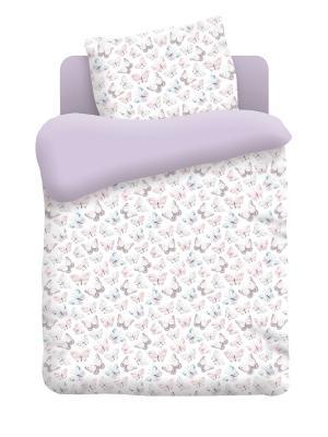 Комплект постельного белья в кроватку поплин Бабочки Непоседа. Цвет: белый