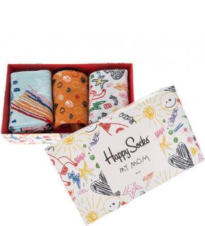 Подарочный комплект из трех пар хлопковых носков Happy Socks. Цвет: оранжевый