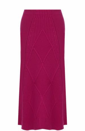 Шерстяная юбка-миди фактурной вязки Kenzo. Цвет: розовый