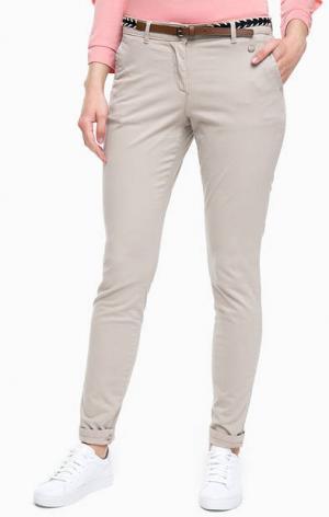 Бежевые брюки чиносы из хлопка TOM TAILOR. Цвет: бежевый