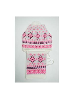 Шапка, шарф Tricotier. Цвет: розовый, белый