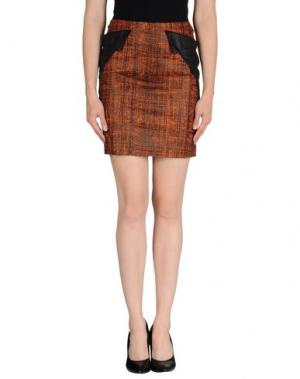 Мини-юбка MAURO GASPERI. Цвет: ржаво-коричневый