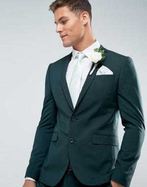 ASOS Зеленый приталенный пиджак с принтом на подкладке Wedding. Цвет: зеленый