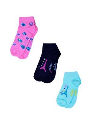 Носки женские,комплект 3шт Malerba. Цвет: синий, белый, салатовый