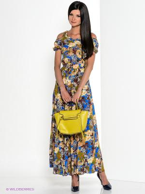 Платье Klimini. Цвет: синий, желтый