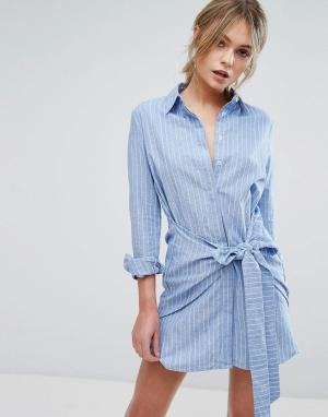 Unique 21 Платье-рубашка с поясом Unique21. Цвет: синий