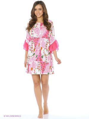 Платье - туника Del Fiore. Цвет: кремовый, фуксия