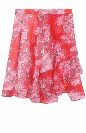 Юбка асимметричного кроя с цветочным принтом Carven. Цвет: красный
