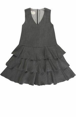 Платье А-силуэта с оборками без рукавов Caf. Цвет: серый