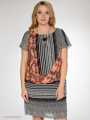 Платье Gemko plus size. Цвет: коралловый, белый, черный