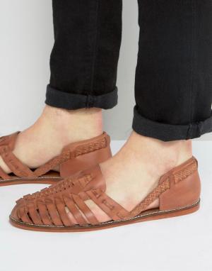 ASOS Светло-коричневые плетеные кожаные сандалии. Цвет: рыжий