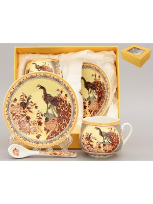Кофейная пара Павлин на бежевом Elan Gallery. Цвет: бежевый