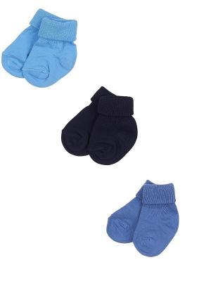 Носки детские,комплект 3 шт. Skinija. Цвет: темно-синий, голубой, индиго