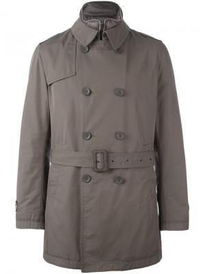 Двубортное пальто с поясом Herno. Цвет: серый