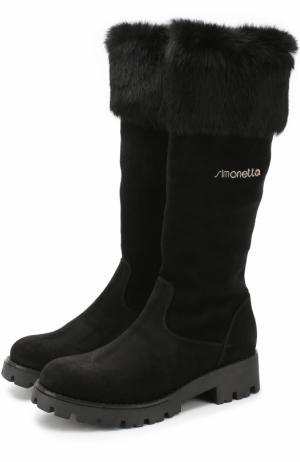 Замшевые сапоги с меховой отделкой Simonetta. Цвет: черный