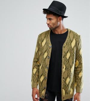 ASOS Кардиган в винтажном стиле из мохеровой смеси TALL. Цвет: зеленый