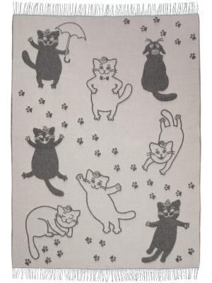Плед Cats, 140х200 VLADI. Цвет: серый, белый