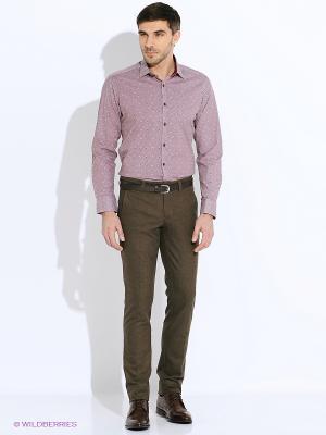 Рубашка BAWER. Цвет: темно-красный, бледно-розовый, белый