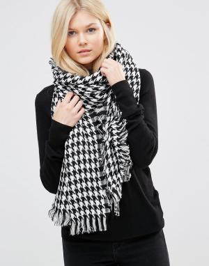 7X Oversize-шарф с узором гусиная лапка. Цвет: черный