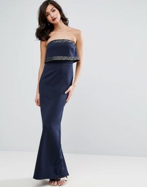 ASOS Платье-бандо макси с кроп-топом и отделкой. Цвет: серый