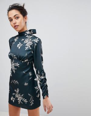 Finders Keepers Платье мини с цветочным принтом. Цвет: зеленый