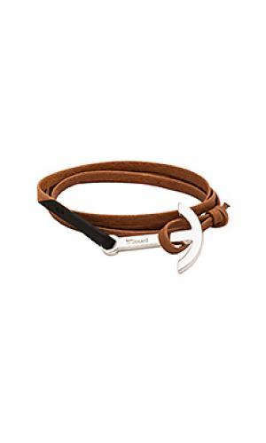 Кожаный браслет с серебряным покрытием modern anchor Miansai. Цвет: цвет загара