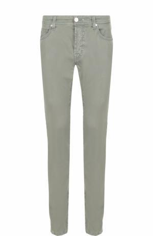 Зауженные хлопковые брюки Sartoria Tramarossa. Цвет: хаки