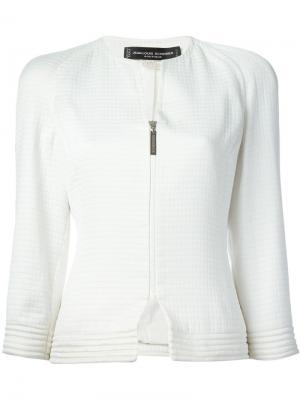Фактурный пиджак Jean Louis Scherrer Vintage. Цвет: белый