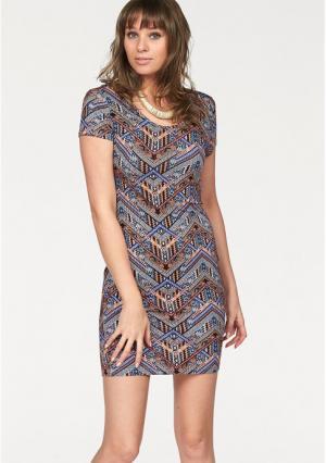 Платье AJC. Цвет: синий/оранжевый/черный/бордовый, черный/белый
