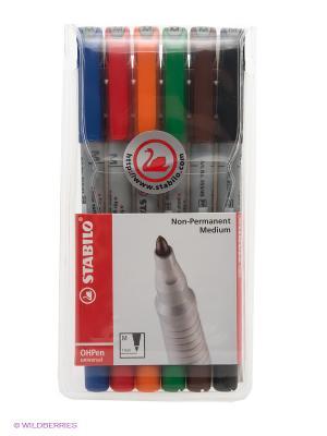 Набор маркерных ручек, 6 цв. Stabilo. Цвет: красный