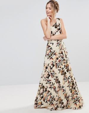 Gestuz Платье макси на одно плечо с цветочным принтом. Цвет: мульти