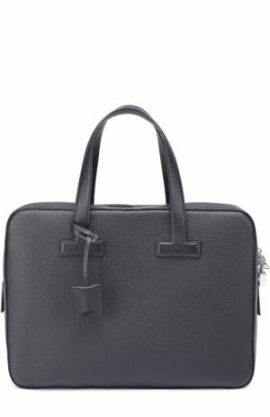 Кожаная сумка для ноутбука Tom Ford. Цвет: синий