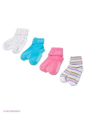 Носки, 4 пары Cascatto. Цвет: белый, голубой, розовый