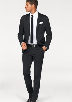 Костюм, 4 части: пиджак + брюки галстук платок BRUNO BANANI. Цвет: темно-синий, черный