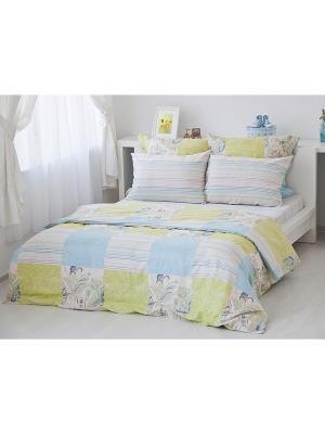 Комплект 1,5-спального постельного белья Кудрина, сатин в подарочной коробке Тет-а-Тет. Цвет: светло-зеленый, голубой, светло-бежевый