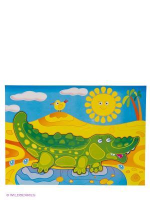 Набор для творчества Блестящая картинка. Крокодил Дрофа-Медиа. Цвет: зеленый, голубой, желтый