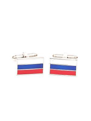 Запонки военные россия флаг Churchill accessories. Цвет: серебристый