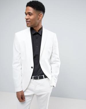 Selected Homme Узкий льняной пиджак. Цвет: белый