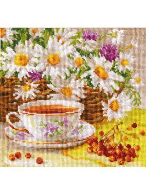 Набор для вышивания Полуденный чай 18х18 см  Алиса. Цвет: белый, желтый, коричневый, оранжевый
