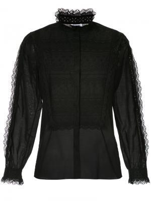 Lace trim shirt Vilshenko. Цвет: чёрный