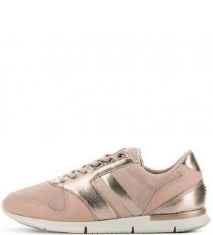 Розовые кроссовки с вкладной стелькой Tommy Hilfiger. Цвет: розовый